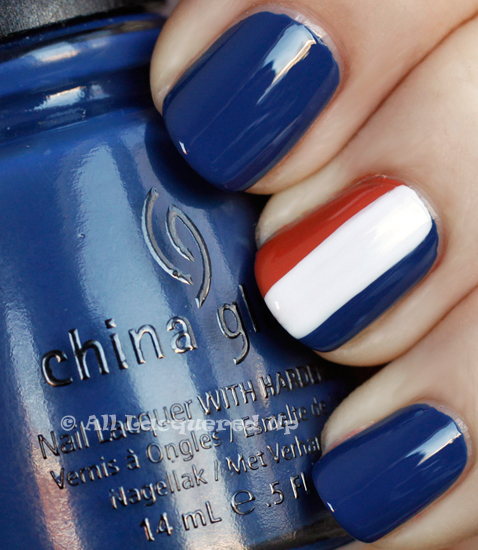 nautical manicure of a signal flag using china glaze first mate, snow and life preserver from the china glaze anchors away collection for spring 2011