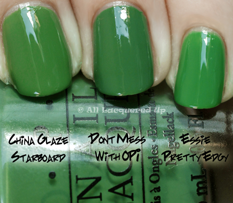 opi dont mess with opi comparison swatch with china glaze starboard and essie pretty edgy