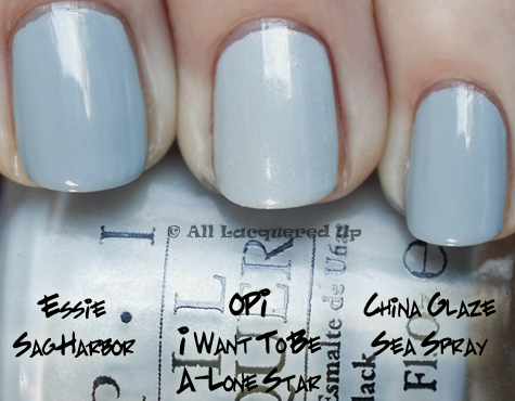 opi i vant to be a-lone star swatch comparison with china glaze sea spray and essie sag harbor