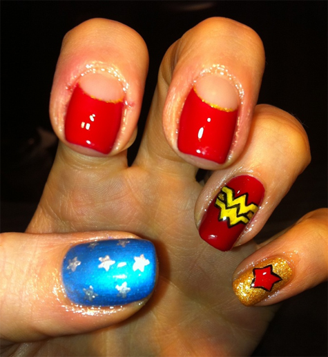 wonder woman nail art junkie keri b MAC Wonder Woman Obey Me & Spirit of Truth Swatches, Review & Nail Art?