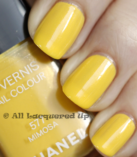 chanel mimosa swatch nail polish summer 2011 Chanel Mimosa Le Vernis from the Summer 2011 Collection   Swatch, Review and Comparison