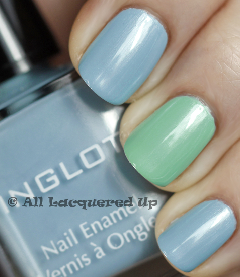 inglot 969 and inglot 970 swatch from the inglot pastel nail polish collection 365 untrieds easter