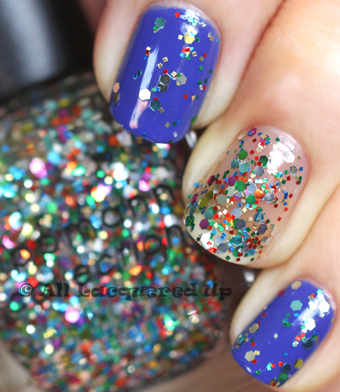 Deborah Lippmann Hy Birthday Swatch Layered Over I Know What Boys Like From The Summer 2017