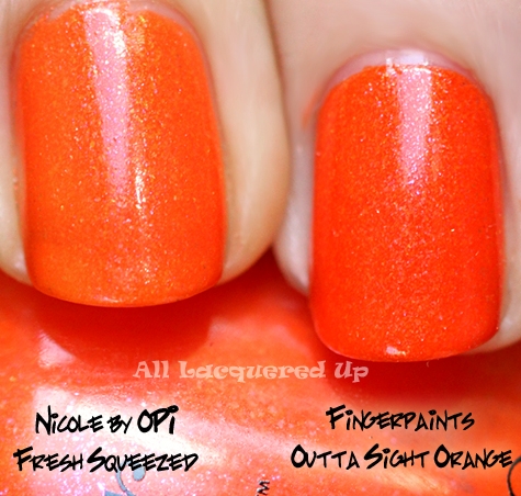 fingerpaints outta sight orange nail polish compared with nicole by opi fresh squeezed
