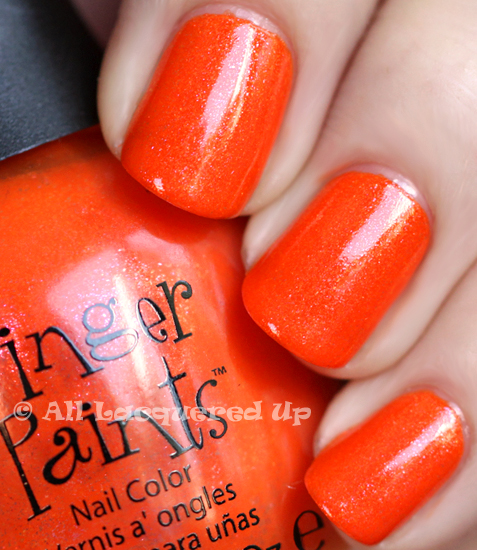 fingerpaints outta sight orange nail polish swatch from the fingerpaints peace love & color summer 2011 collection