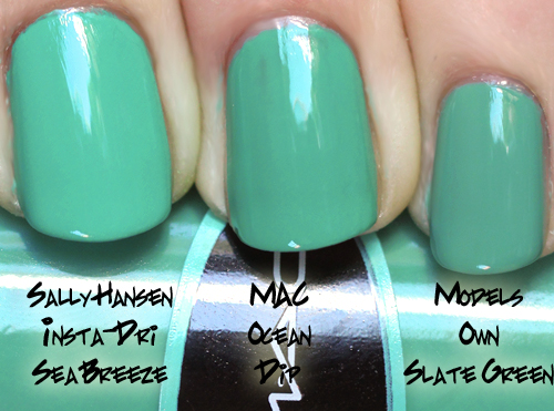 mac ocean dip nail polish comparison swatch ALUs 365 of Untrieds   MAC Ocean Dip from the Surf Baby Collection