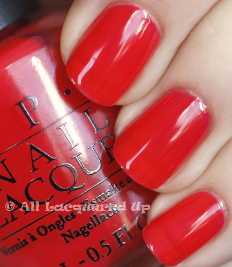 opi big hair big nails swatch texas sorbet three coats nail polish ALUs 365 of Untrieds   OPI Big Hair... Big Nails