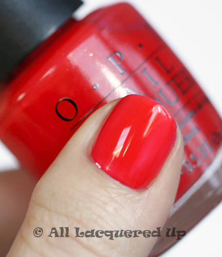 opi big hair big nails swatch texas sorbet thumb nail polish ALUs 365 of Untrieds   OPI Big Hair... Big Nails