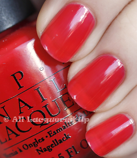 opi big hair big nails swatch texas sorbet two coats nail polish ALUs 365 of Untrieds   OPI Big Hair... Big Nails