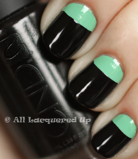 orly ancient jade cnd blackjack color block nails ALUs 365 of Untrieds   Color Block Nails with Orly Ancient Jade