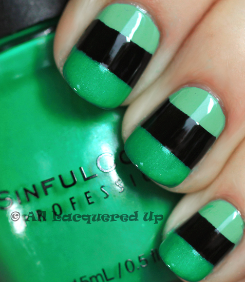 orly ancient jade sinful rise shine color block manicure ALUs 365 of Untrieds   Color Block Nails with Orly Ancient Jade