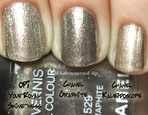 chanel graphite nail polish comparison swatch with chanel kaleidoscope and opi your royal shine-ness