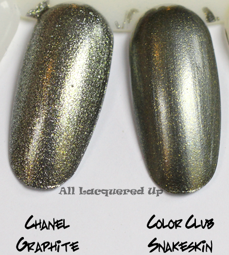 chanel graphite nail polish swatch comparison with color club snakeskin