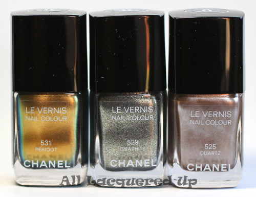 chanel peridot, chanel graphite and chanel quartz nail polish from the chanel fall 2011 collection