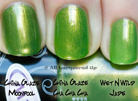 china glaze cha cha cha nail polish comparison swatch with china glaze moonpool from the island escape summer 2011 collection