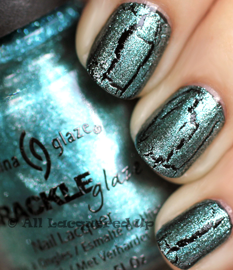 china glaze oxidized aqua crackle glaze metallic nail polish swatch