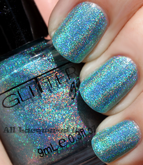glitter gal blue nail polish linear holographic prismatic sun ALUs 365 of Untrieds   Glitter Gal Blue Holographic Nail Polish