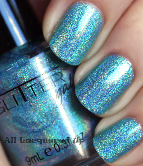 glitter gal blue nail polish linear holographic prismatic
