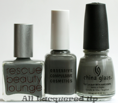 occ makeup dangerous nail polish comparison with rbl stormy and china glaze recycle