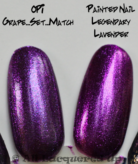 opi grape set match nail polish comparison swatch from the opi serena glam slam england 2011 collection with opi ink & painted nail legendary lavender