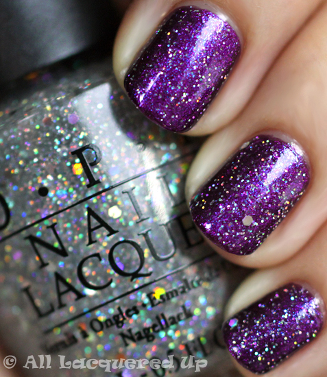 opi servin' up sparkle over opi grape set match nail polish swatch from the opi serena glam slam england 2011 collection