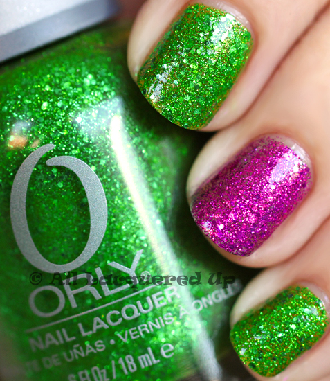 orly here comes trouble and orly bubbly bombshell nail polish swatch from the orly pin-up collection for summer 2011