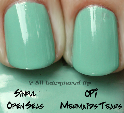 sinful colors open seas nail polish comparison swatch opi mermaids tears