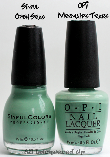 sinful open seas nail polish comparison with opi mermaid's tears potc