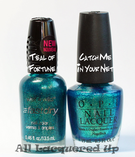 wet n wild teal of fortune comparison with opi catch me in your net