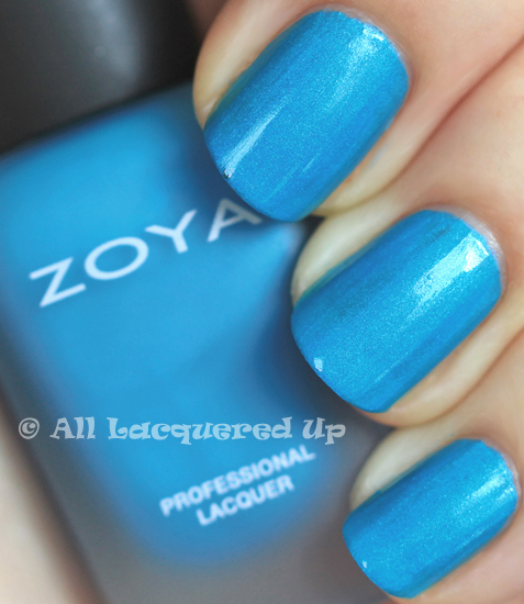 zoya phoebe modmatte nail-polish swatch with a glossy top coat