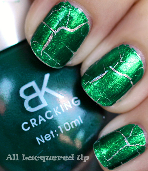 bk cracking jade green nail polish crackle shatter ALUs 365 of Untrieds   BK Cracking Jade Green Crackle Nail Polish