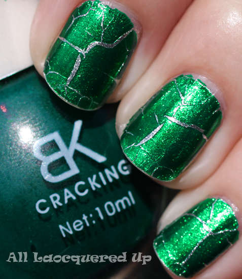 bk cracking jade green nail polish swatch crackle or shatter nail polish