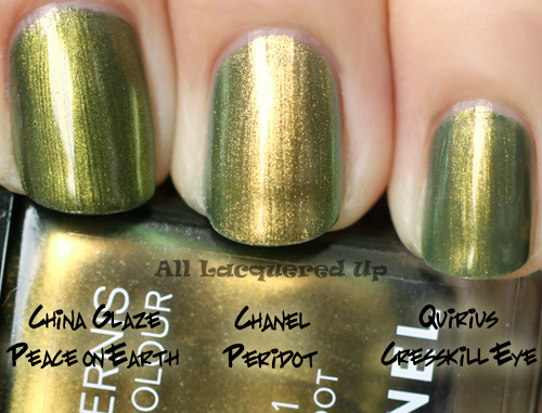 chanel peridot comparison swatch dupe nail polish ALUs 365 of Untrieds   Chanel Peridot from the Fall 2011 Collection
