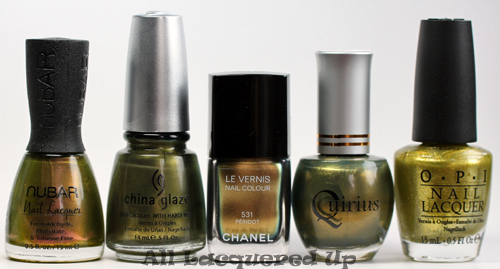 chanel peridot nail polish comparison dupe duochrome