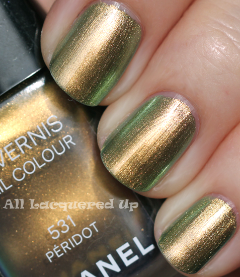 chanel peridot nail polish swatch sun fall 2011 duo chrome ALUs 365 of Untrieds   Chanel Peridot from the Fall 2011 Collection