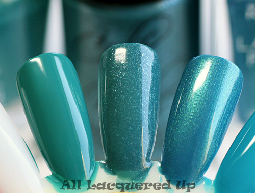 cult nails let me fly nail polish comparison swatch with sally hansen fairy teal and rimmel marine blue