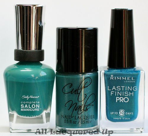 cult nails let me fly nail polish comparison with sally hansen fairy teal and rimmel marine blue