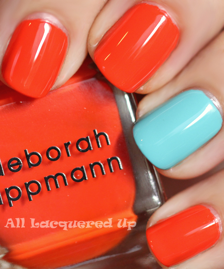 deborah lippmann lara's theme nail polish swatch and orly frisky nail polish swatch from summer 2011