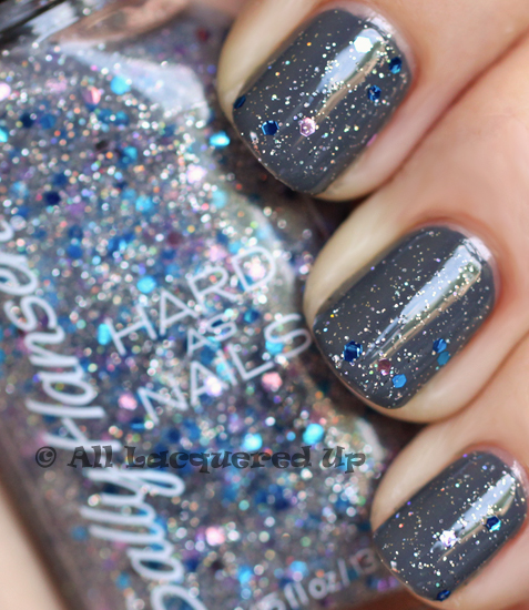 essence movie star with sally hansen ice queen nail polish swatch
