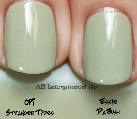 essie da bush nail polish comparison swatch with opi stranger tides nail polish dupe