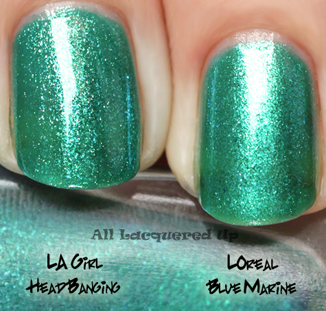 loreal blue marine nail polish comparison swatch with la girl rock star head banging
