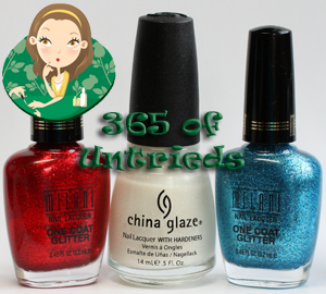 milani one coat glitter red sparkle and blue flash with china glaze cloud nine nail polish