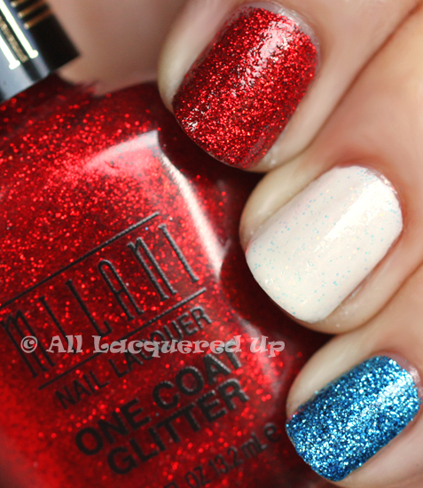 milani red sparkle blue flash nail polish swatch from the milani one coat glitter collection with china glaze cloud nine