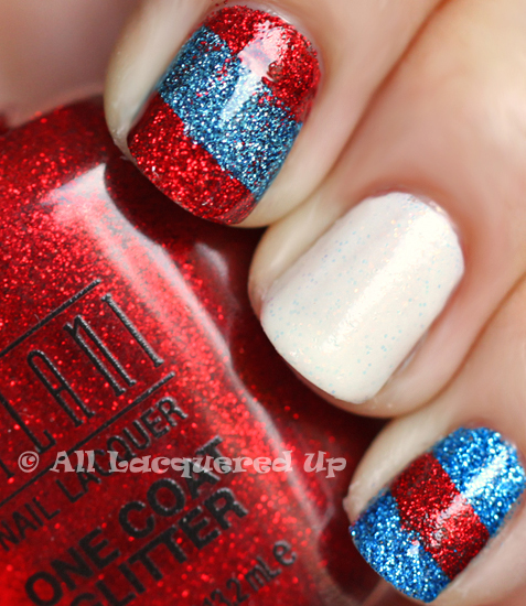 Patriotic Nails with Milani One Coat Glitters