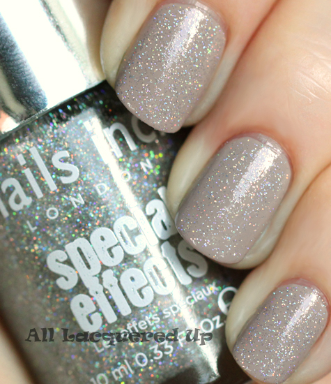nails inc electric lane holographic top coat over nails inc porchester square nail polish swatch
