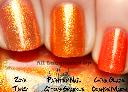 painted nail citrus sparkle comparison swatch dupe nubar nail polish