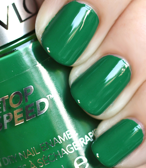 revlon top speed emerald nail polish swatch green