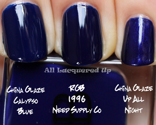 rgb 1996 need supply co nail polish comparison swatch dupe with china glaze up all night and china glaze calypso blue