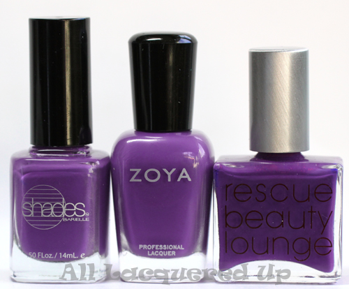 zoya mira nail polish comparison with barielle grape escape and rescue beauty lounge rbl mismas