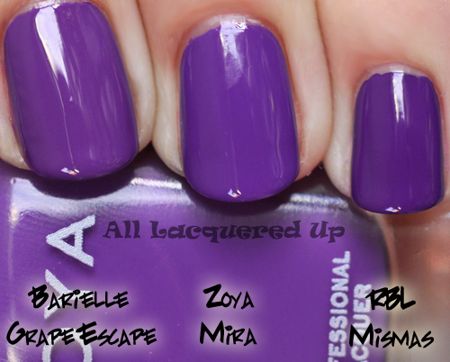 zoya mira nail polish comparison swatch mismas grape escape ALUs 365 of Untrieds   Zoya Mira from the Summertime Collection